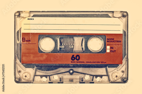 Retro styled image of an old compact cassette - 75602131