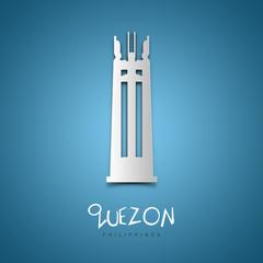 Quezon, Philippines. Blue greeting card.
