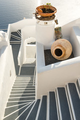 Staircase to apartments in Santorini, Greece