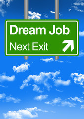 Dream job road sign concept