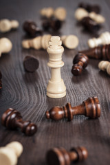 chess win concept over wooden background