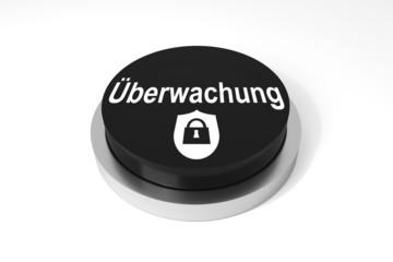 Runder schwarzer Knopf Überwachung Sicherheit Symbol