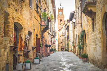 Street in old mediaeval town in Tuscany, Pienza.