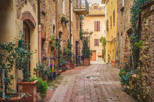 Street in old mediaeval town in Tuscany, Pienza.