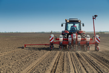 Farmer seeding crops at field.