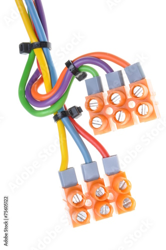 Color electric cables with terminal blocks isolated on white