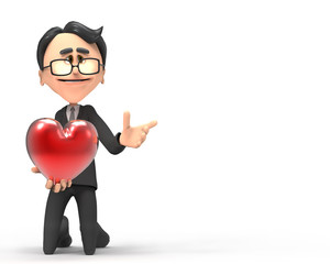3d businessman with hearts in hand
