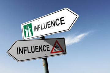 Influence directions. Choice for easy way or hard way.