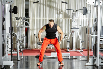Workout at cable machine