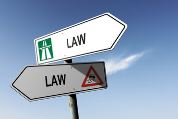 Law directions. Choice for easy way or hard way.