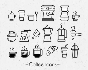 Coffee icons with paper