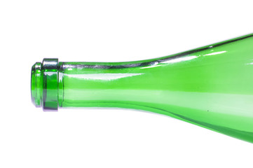 Close up of champagne or sparkling wine bottle isolated