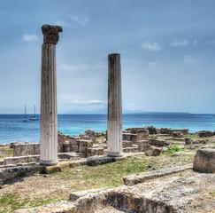 historic columns in Tharros,