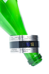 Wine thermometer on the green bottle neck