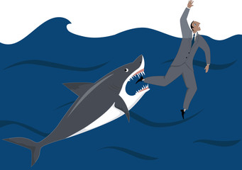 Shark biting a drowning businessman