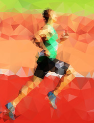 Abstract vector character created by runners from triangles