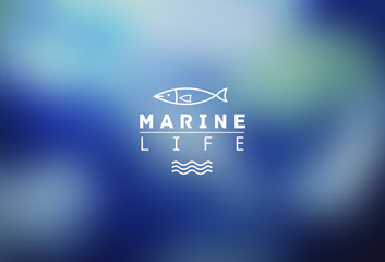 marine life. Blurry design of card