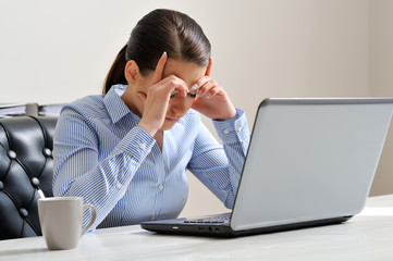 Woman depressed at work