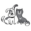 Dog and cat - pets, domestic animals, friends