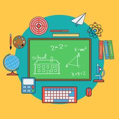 School and education flat vector illustration