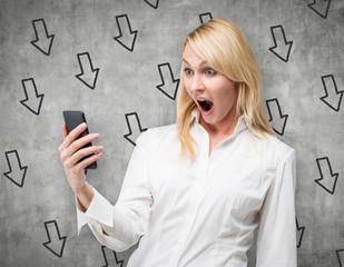 Surprised woman looking at phone