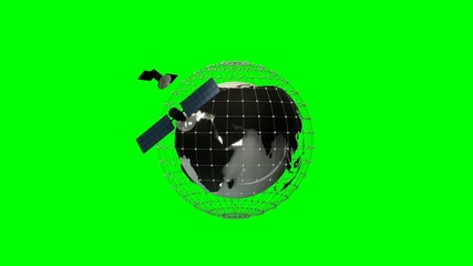 Globe model with network and satellites on green background