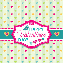 Valentines day cards with ornaments, vector