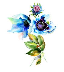 Decorative blue flowers