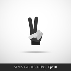 Hand showing number two. Flat vector icon
