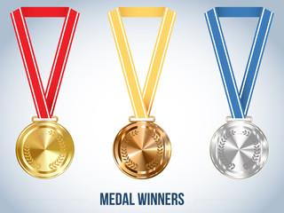 Champion Medal with Ribbon, Vector Illustration