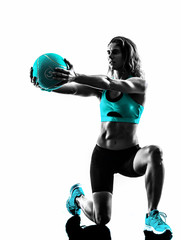 woman fitness Medicine Ball exercises silhouette © snaptitude