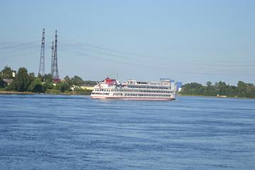River cruise ship sailing on the river Neva.