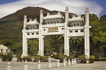Entrance of Tian Tan Buddha. Lantau Island. Hong Kong. China