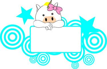 cute unicorn baby girl copyspace