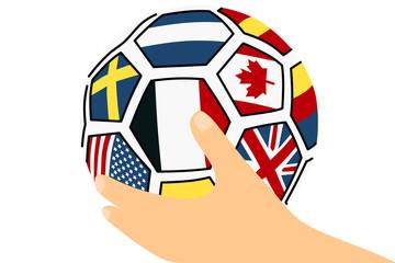 サッカーボールを持つ手