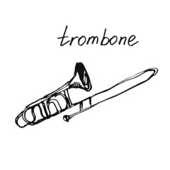 Vector illustration of a trombone. Sketch.