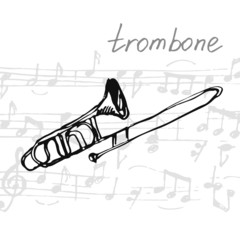 Vector illustration of a trombone. Sketch.