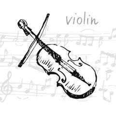 Vector illustration of a violin. Sketch.