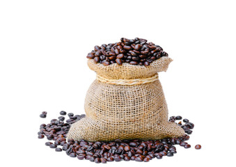 coffee bean in sack bag on white background