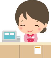 レジカウンターで微笑む女性店員