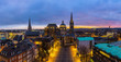 Leinwanddruck Bild - Aachener Dom bei Nacht Panorama