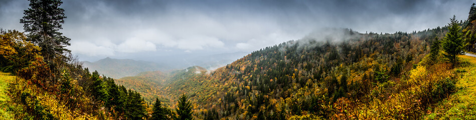Panorama of Mountains in Fall with Fog