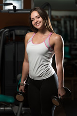 Young Woman Exercising Biceps With Dumbbells
