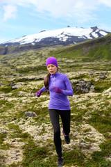 Running woman athlete exercising trail runner