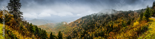 Panorama of Mountains in Fall with Fog - 75616706