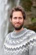 Portrait of man in Icelandic sweater outdoor