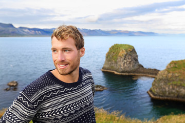 Fair isle sweater - handsome man on Iceland