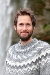 Portrait of man in Icelandic sweater outdoor