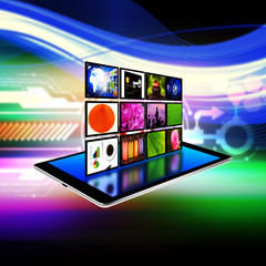 internet production technology concept on tablet ,tablet  illus