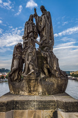 Sculpture on the Charles Bridge, Prague. Stylization